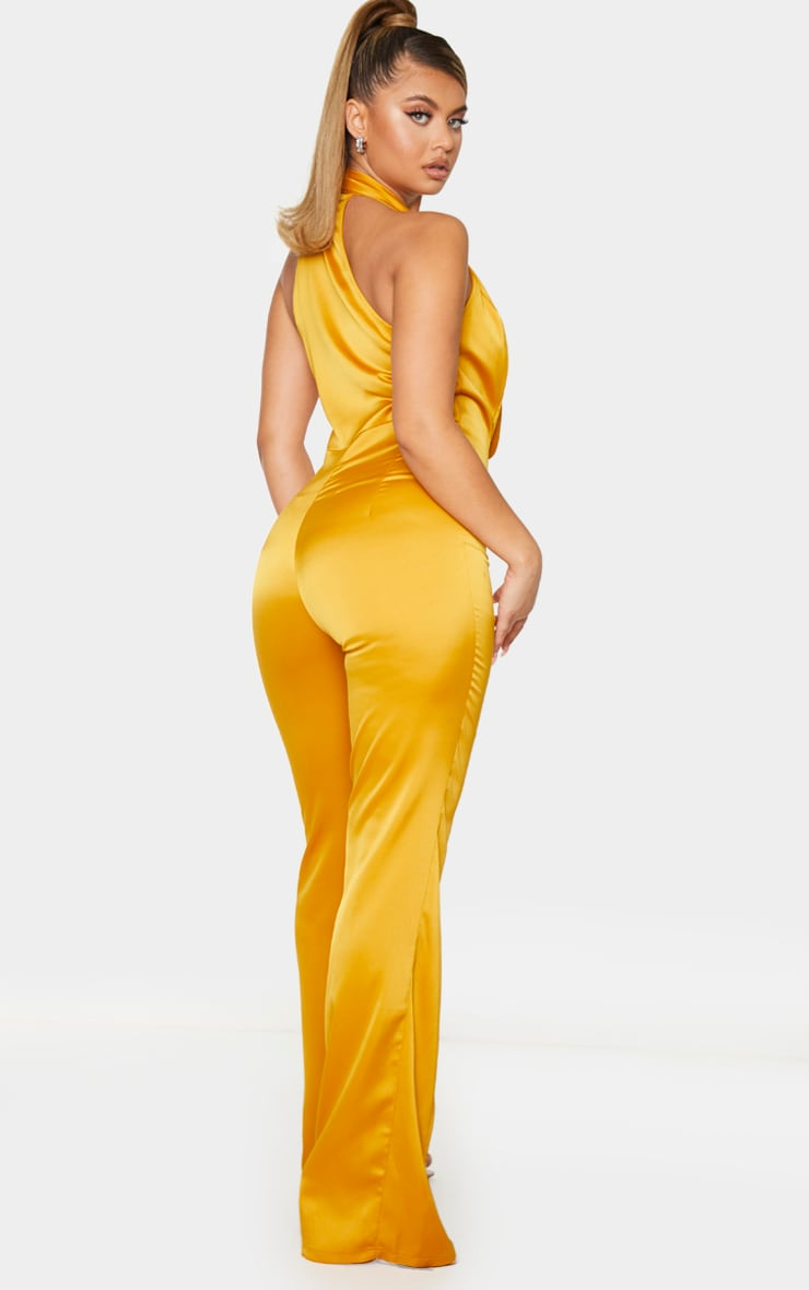 Mustard Satin Button Front Lapel Jumpsuit 2