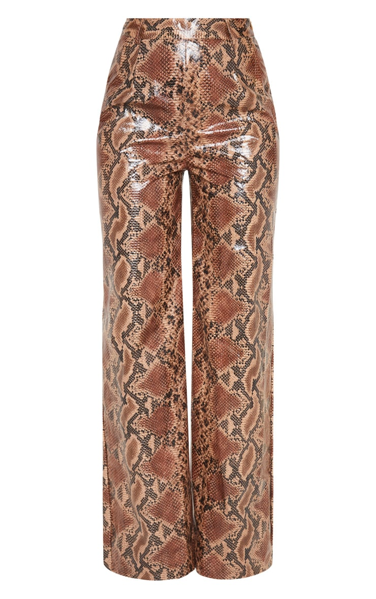 Tan Faux Leather Snakeskin Wide Leg Trouser 3