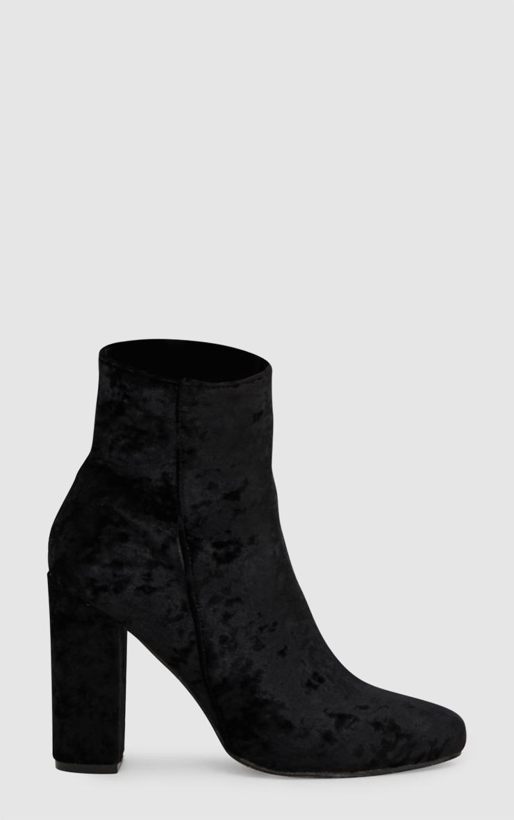 Black Crushed Velvet Ankle Boots 3