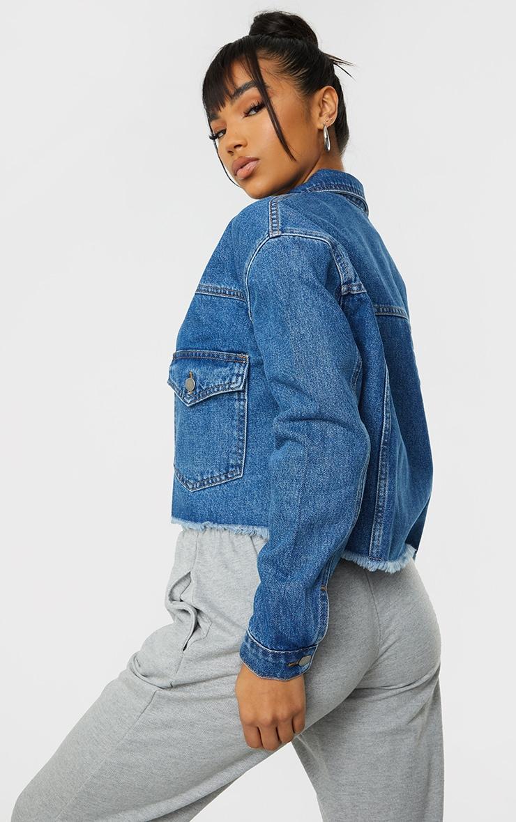 Mid Blue Wash Oversized Cropped Pocket Detail Denim Jacket 2