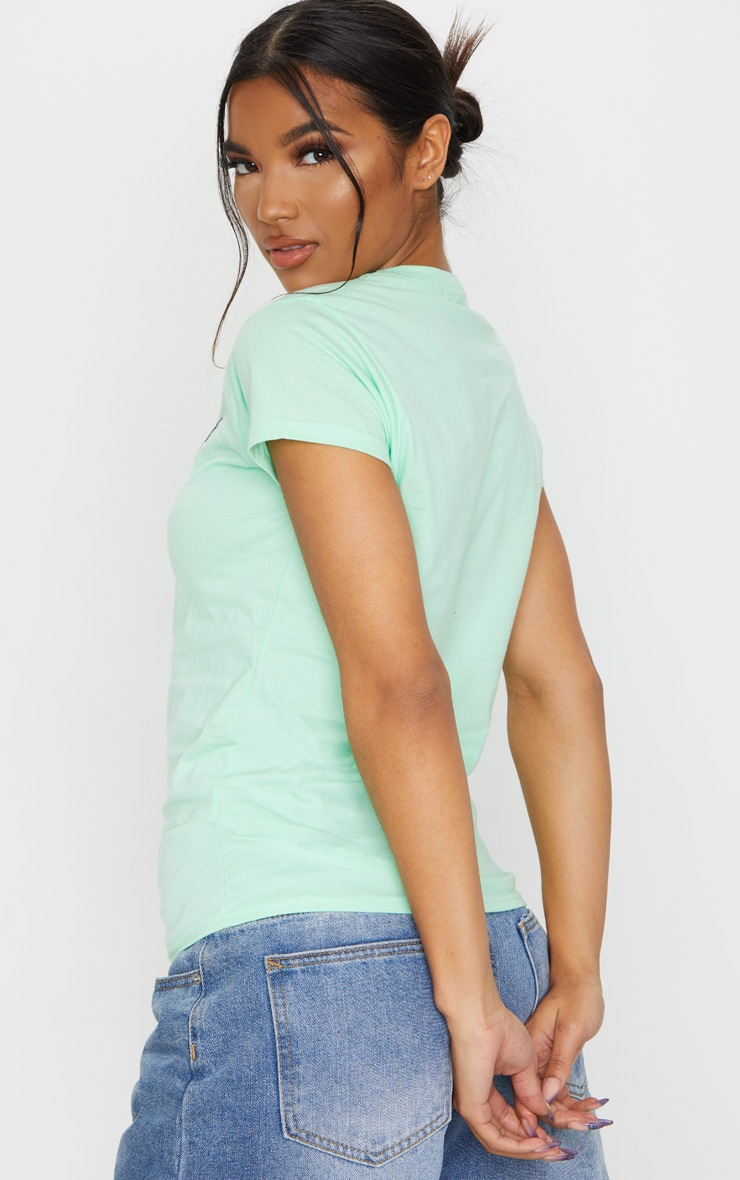 Mint Butterfly Print Fitted T Shirt 3