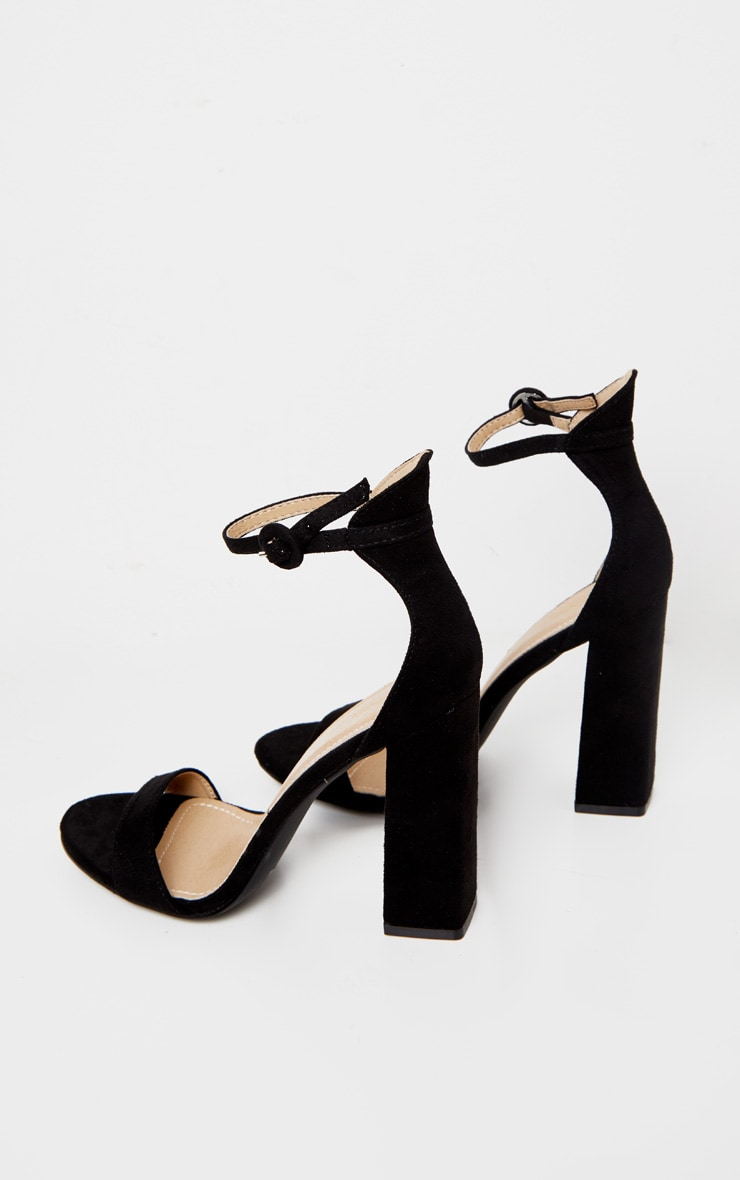 Black Faux Suede Block High Heeled Sandals 4