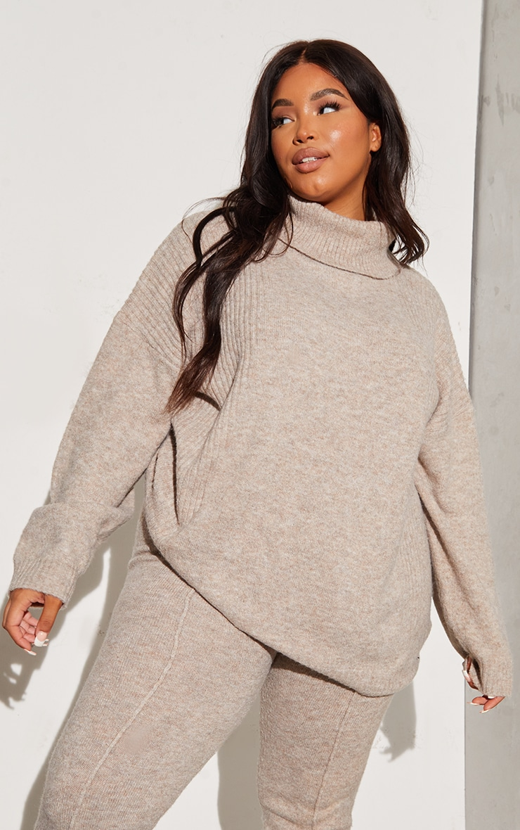 RENEW Plus Oatmeal Knitted Slouchy Roll Neck Jumper 1
