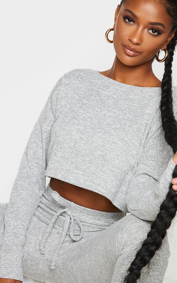 Shape Cream Long Sleeve Knitted Crop Top 4