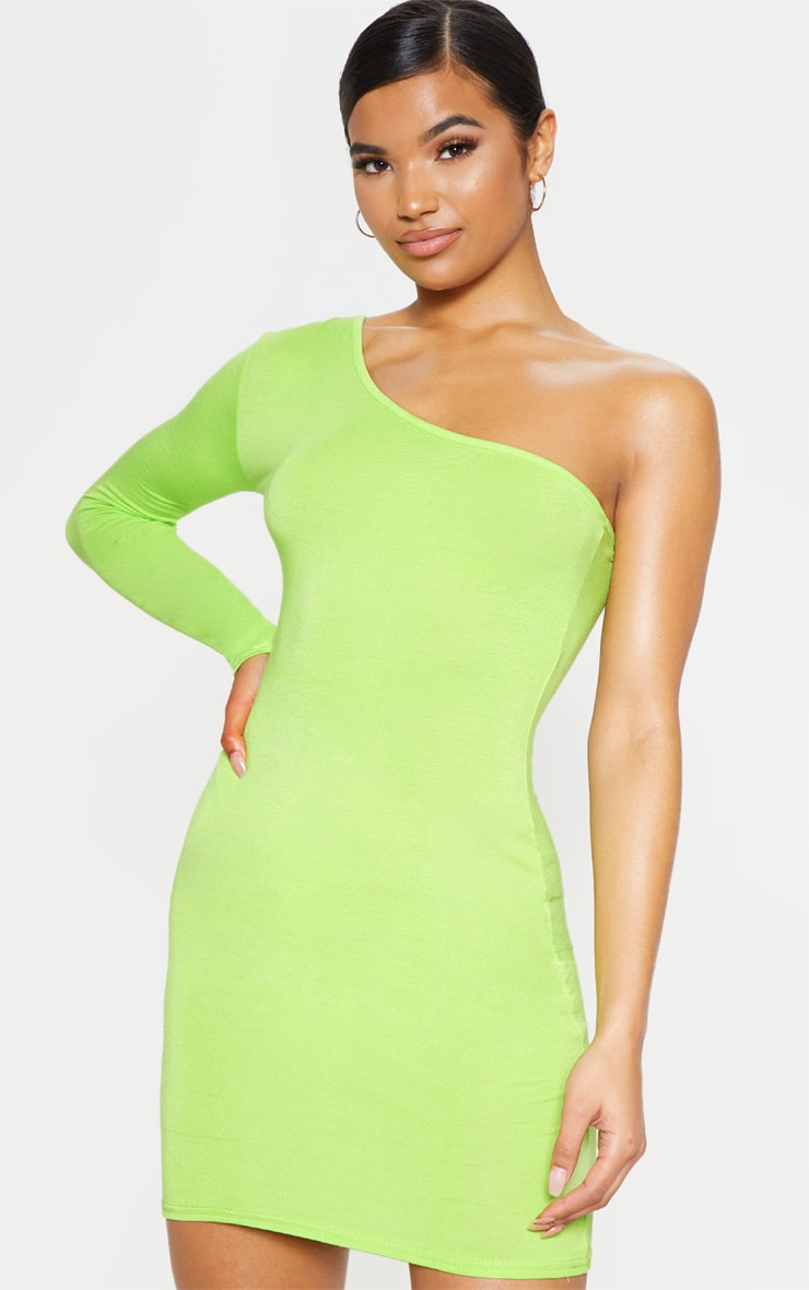 Neon Lime One Shoulder Long Sleeve Bodycon Dress  1