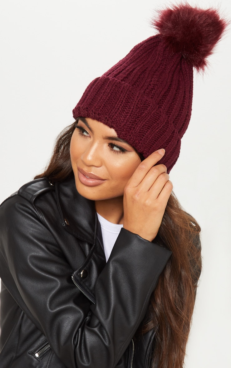 Burgundy Knitted Faux Fur Bobble Hat