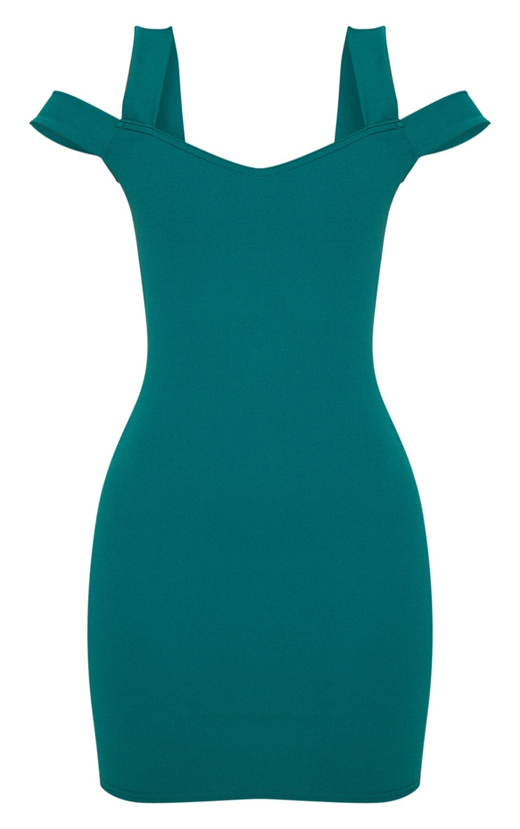 Petite Emerald Green Strappy Bardot Midi Dress 3