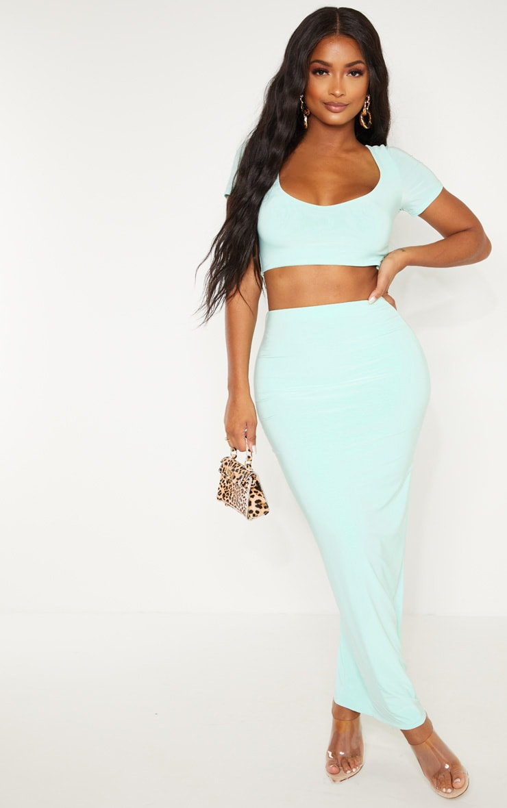 Shape Mint Green Slinky Longline Midaxi Skirt 1