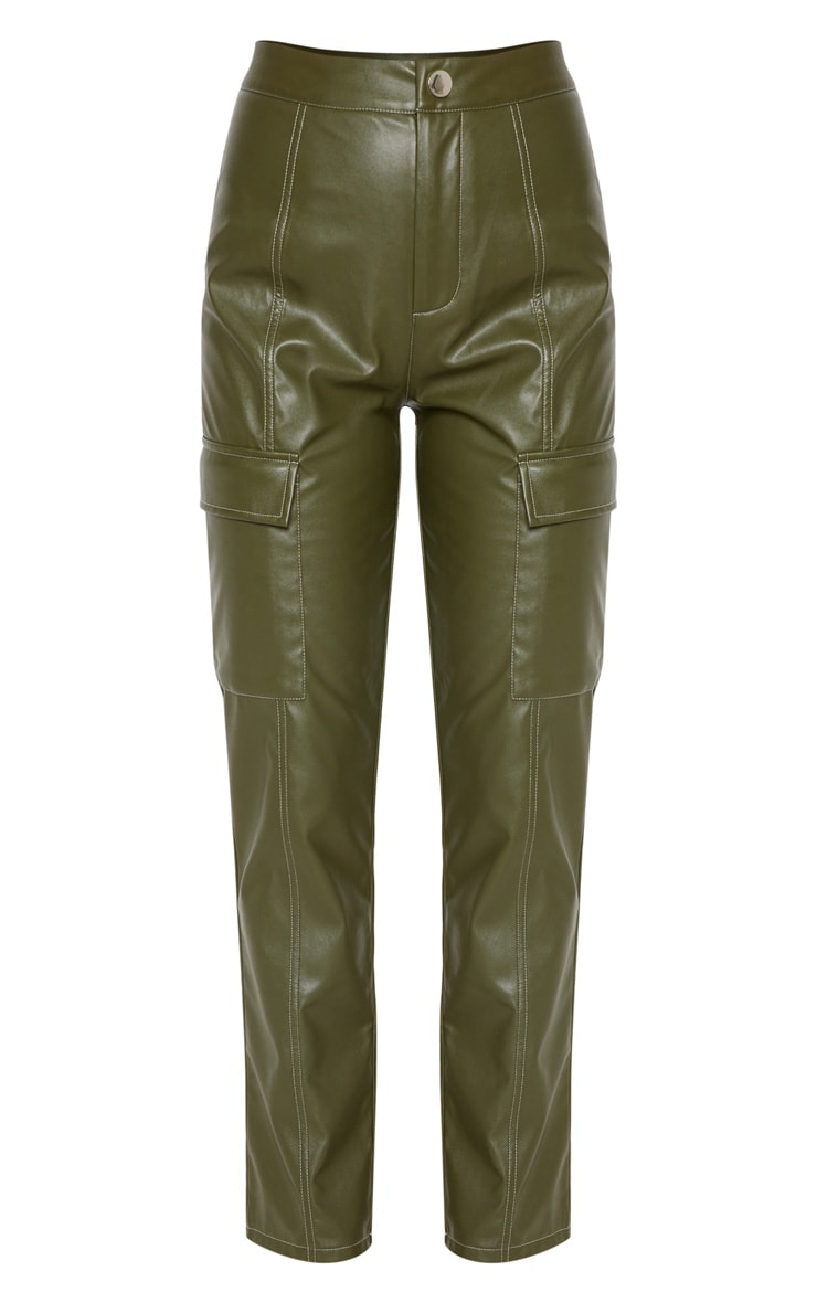 Khaki Faux Leather Cargo Pocket Straight Leg Pants  3