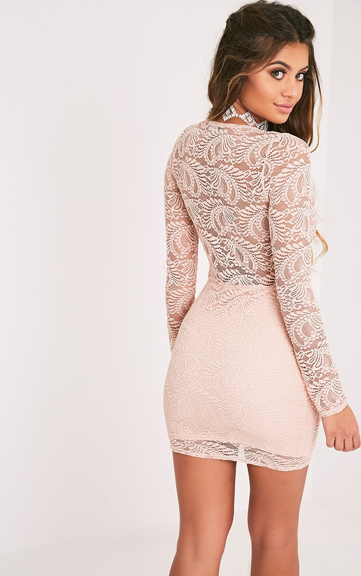 Sereenia Nude Long Sleeve Lace Bodycon Dress 4