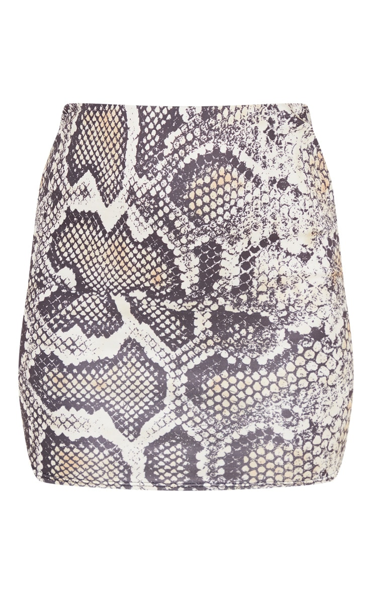Grey Scuba Snake Print Mini Skirt  3