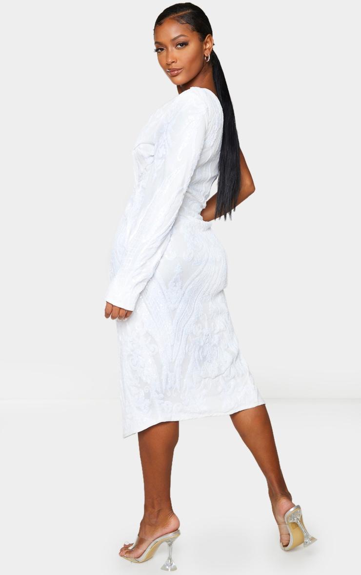 Shape Cream Embellished Cut Out Long Sleeve Split Midi Dress 2
