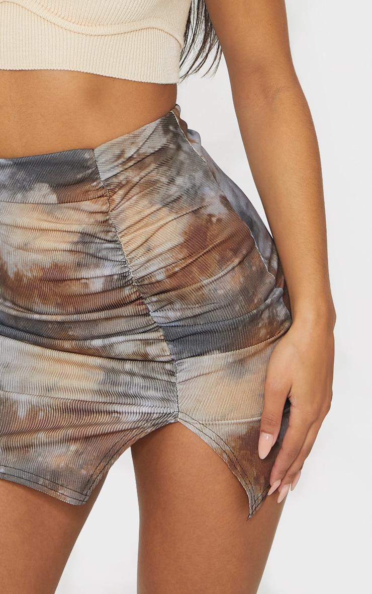 Tie Dye Rib Ruched Mini Skirt 4