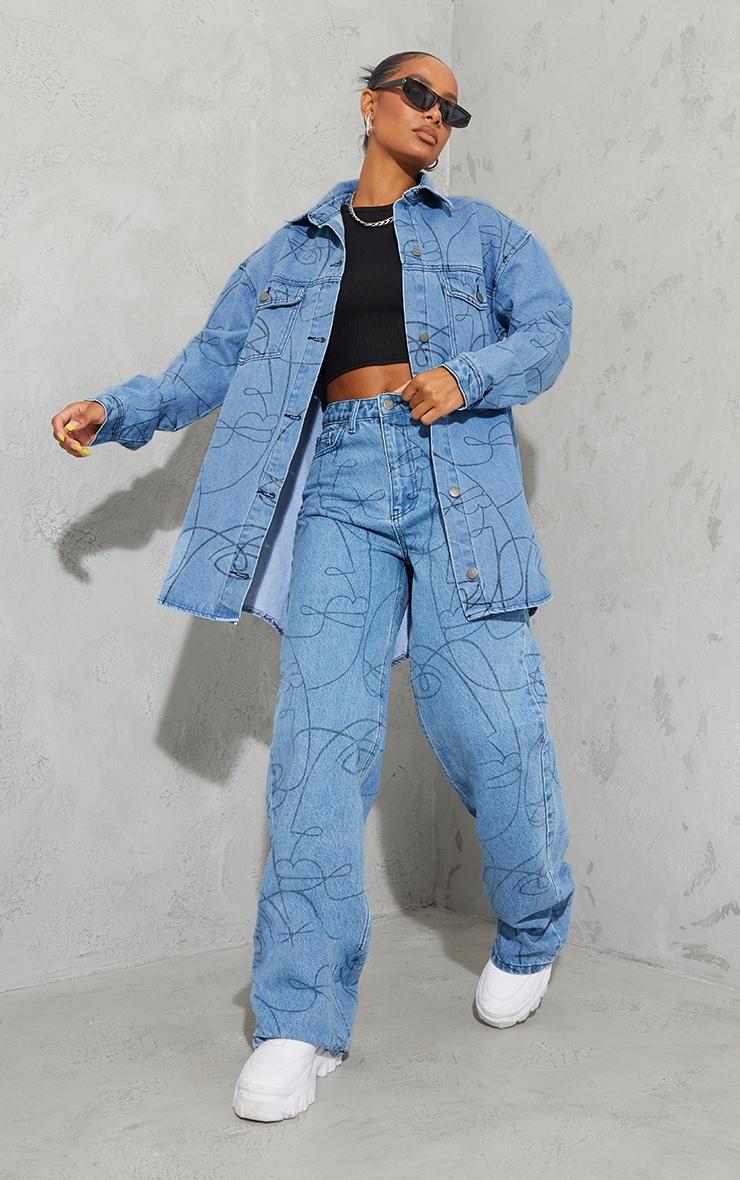 Light Blue Wash Face Print Wide Leg Jeans 1