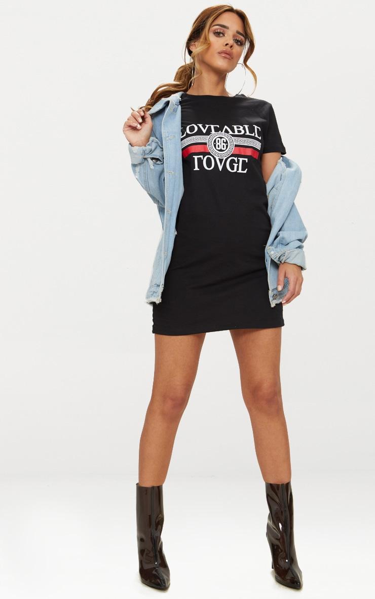 Petite - Robe tee-shirt noire à slogan Loveable Rouge 4