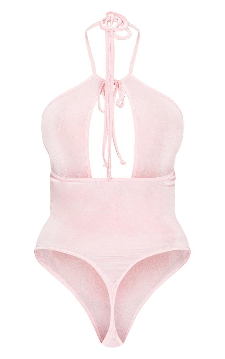 Light Pink Acetate Slinky Extreme Plunge Tie Detail Bodysuit 6