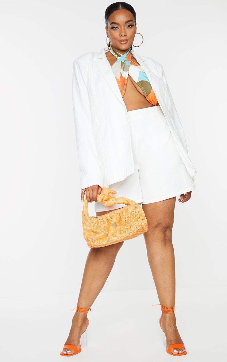 Plus White Linen Look Oversized Blazer 3