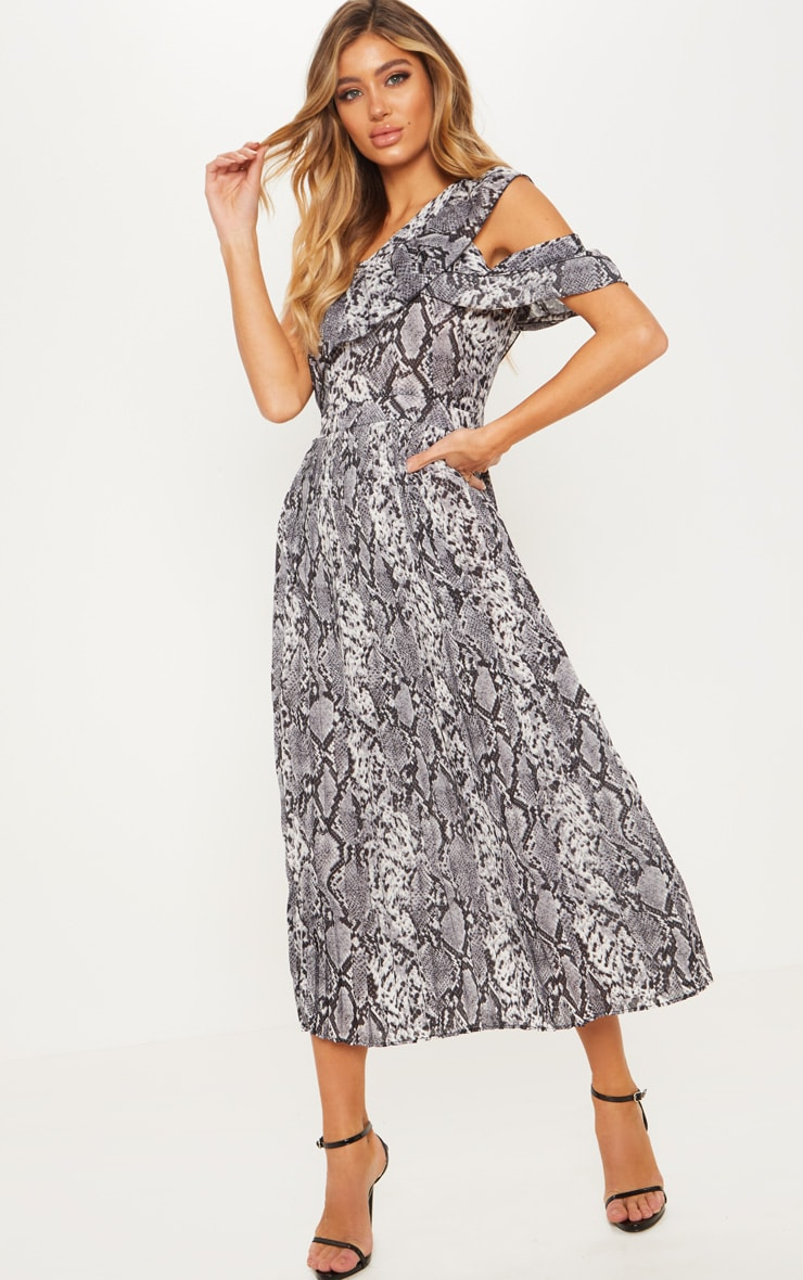 Grey Snake Print One Shoulder Ruffle Detail Pleated Midi Dress 1
