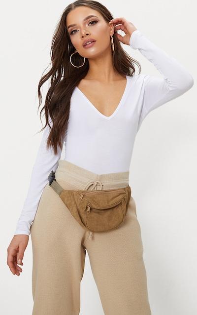 Basic White V Neck Long Sleeve Bodysuit