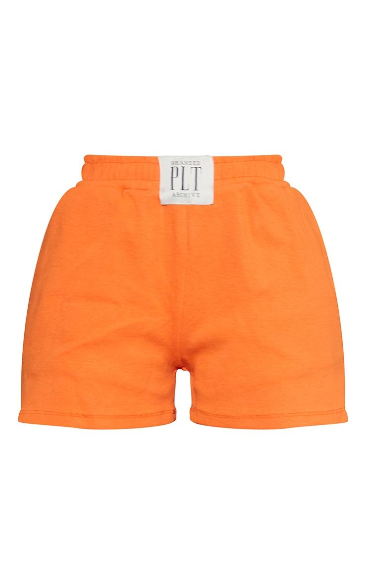PRETTYLITTLETHING Orange Ribbed Lounge Shorts 6