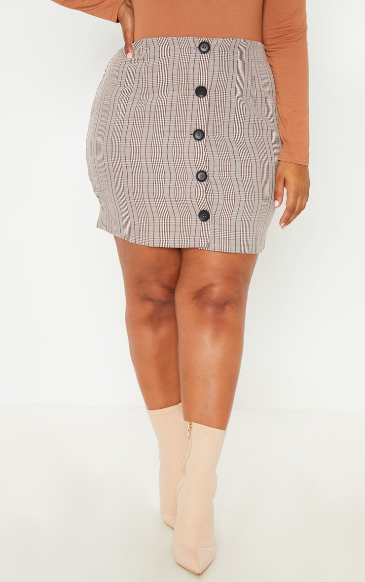 Plus Brown Check Button Up Mini Skirt  2