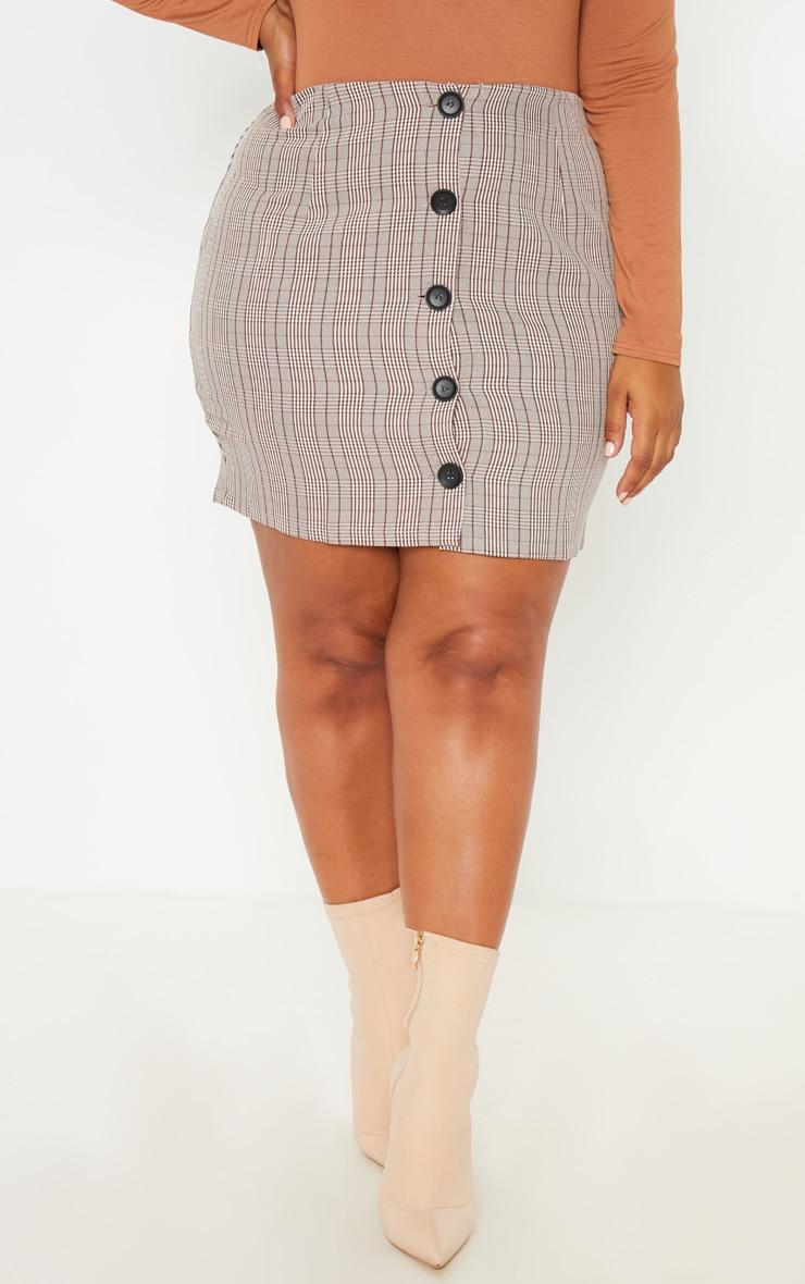 PLT Plus - Mini-jupe marron à carreaux et boutons devant 2
