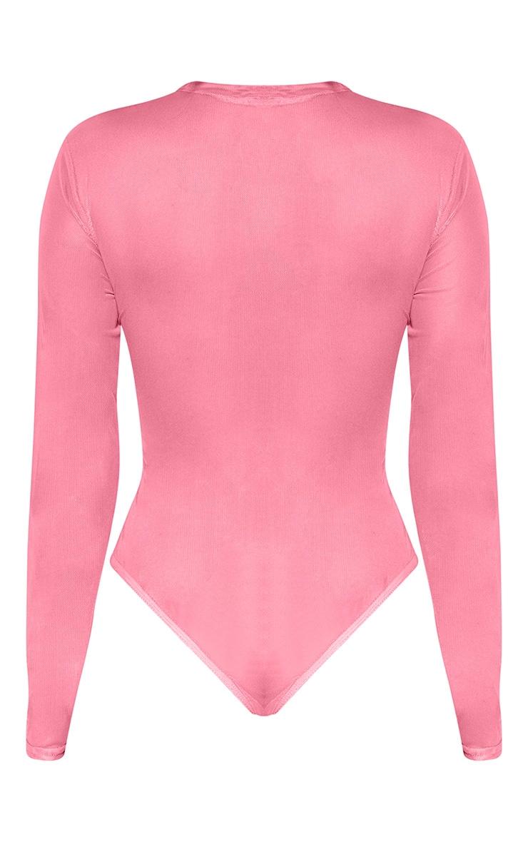 Pink Oriental Printed Mesh Long Sleeve Bodysuit 4