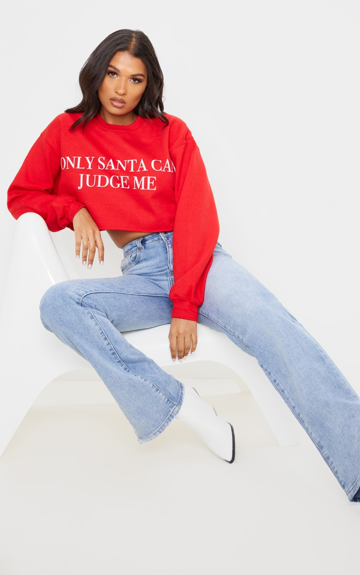 Red Only Santa Can Judge Me Cropped Sweatshirt 4