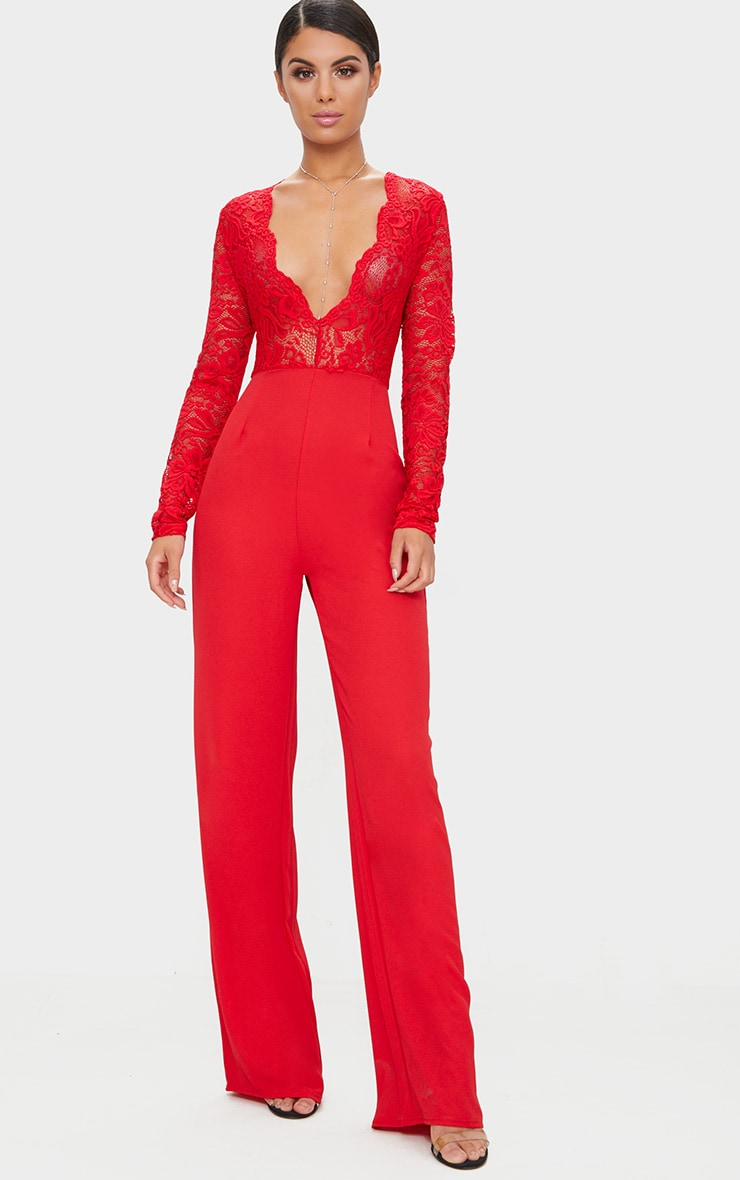 Red Lace Long Sleeve Plunge Jumpsuit 1