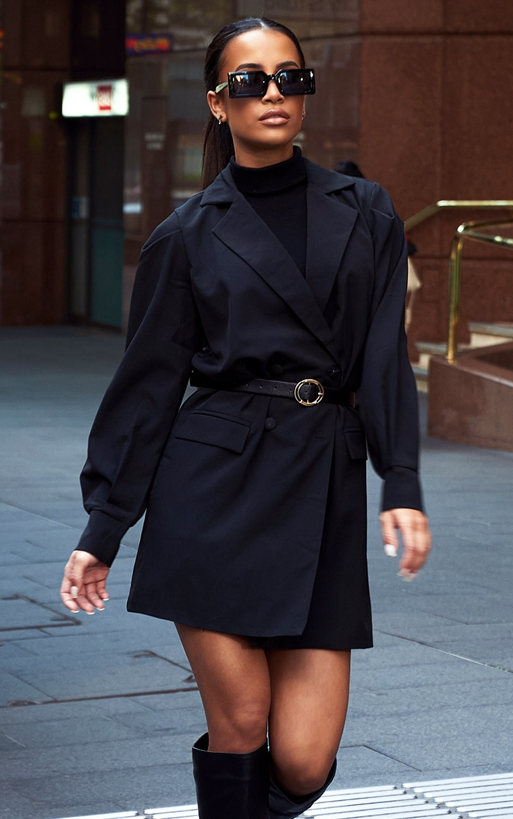 Black Woven Belted Blazer Dress 1