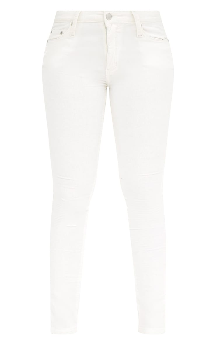 Cream Cord Low Rise Skinny Jeans 3