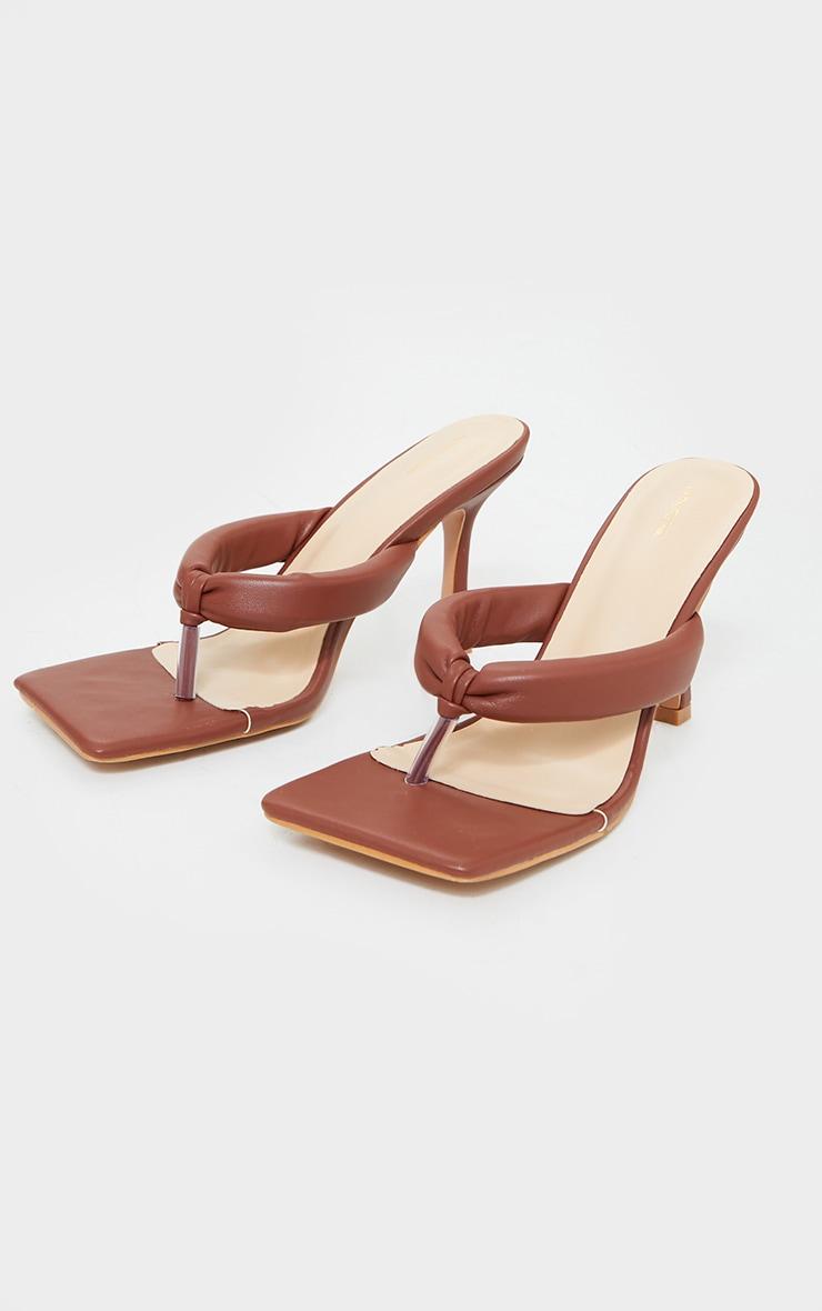Chocolate PU Padded Toe Thong Mid Heeled Mules 3