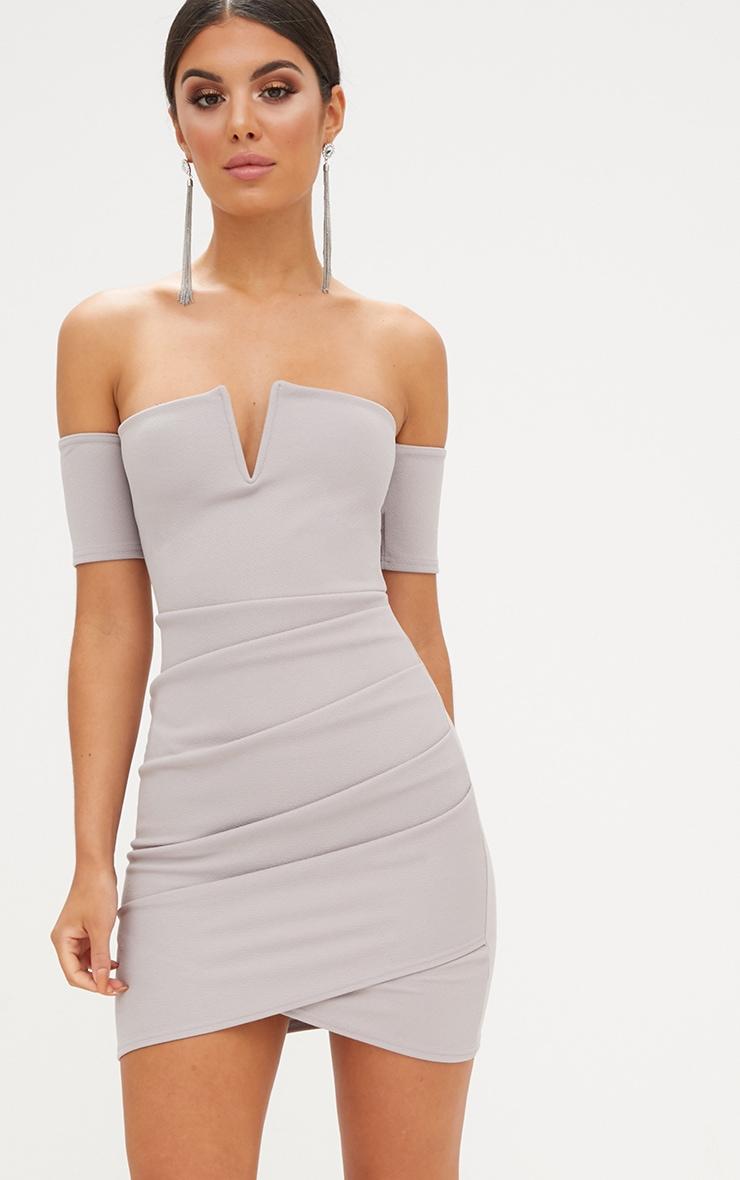 Ice Grey Bardot Wrap Front Bodycon Dress Dresses