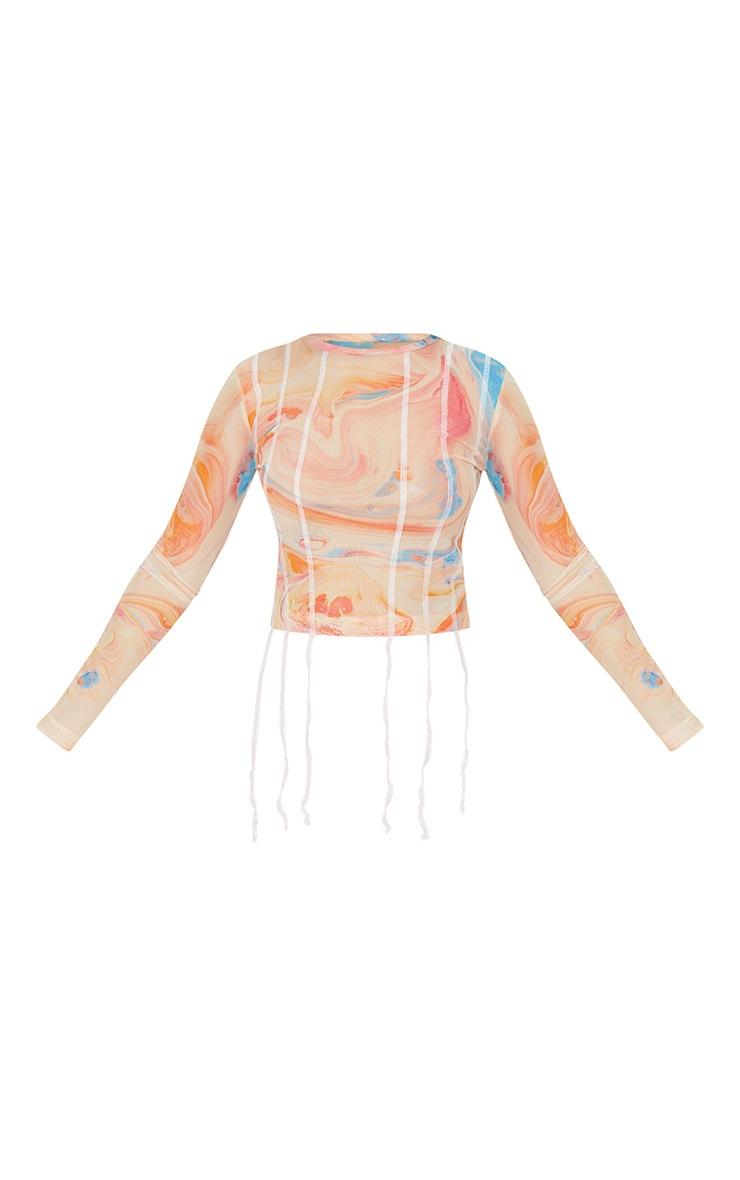 Petite Orange Tie Dye Contrast Seam Mesh long Sleeve Crop Top 5