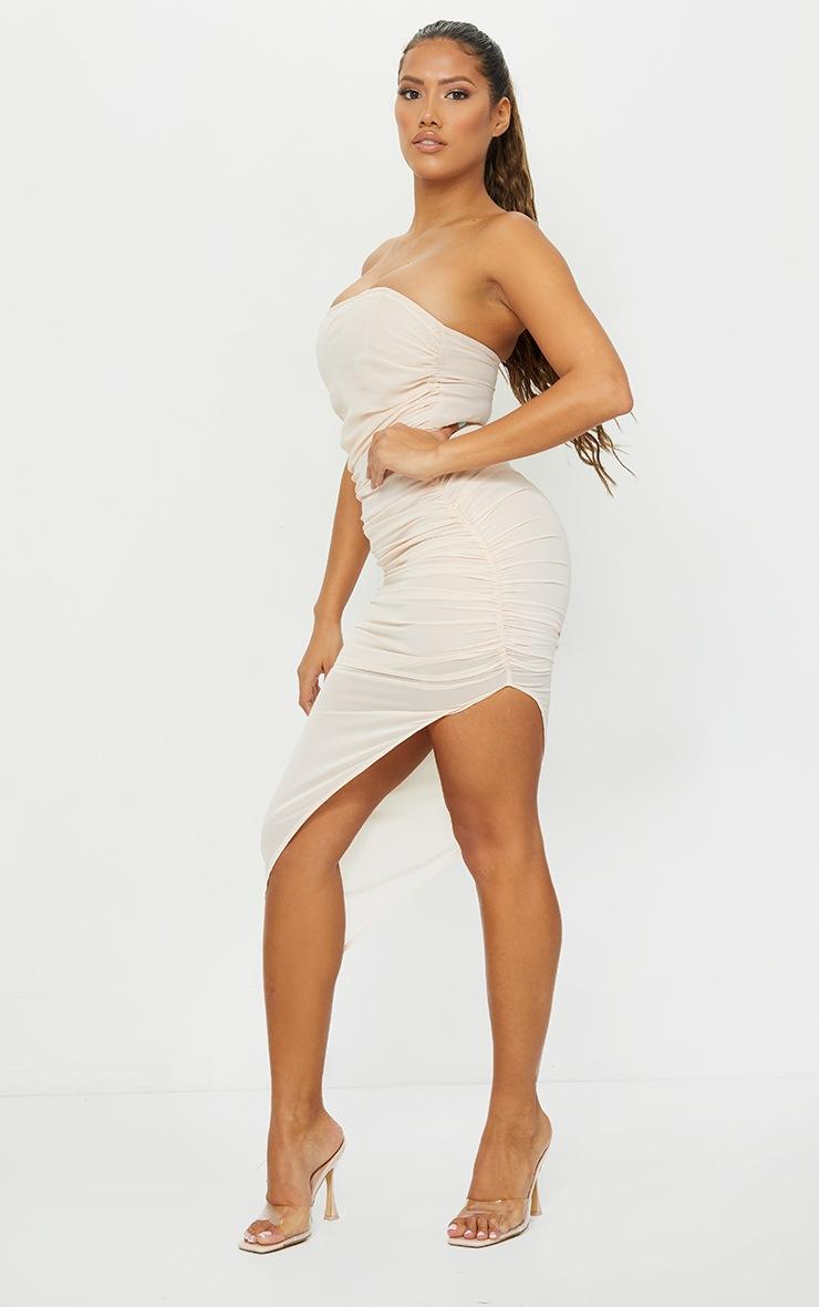 Shape Nude Chiffon Ruched Bandeau Drape Midi Dress 3