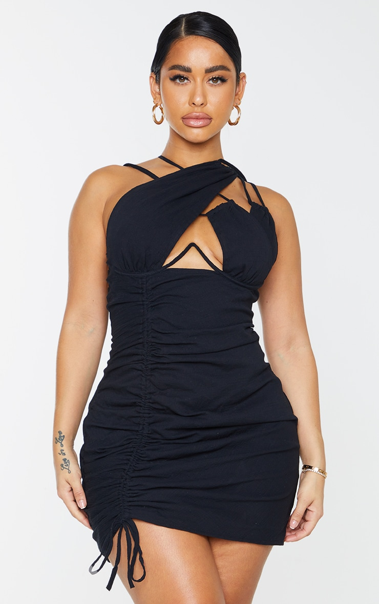 Shape Black Woven Cup Detail Ruched Side Bodycon Dress 1