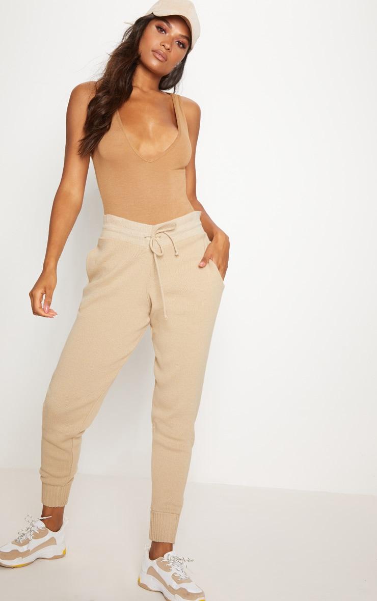 Basic Brown Jersey Plunge Neck Thong Bodysuit  5