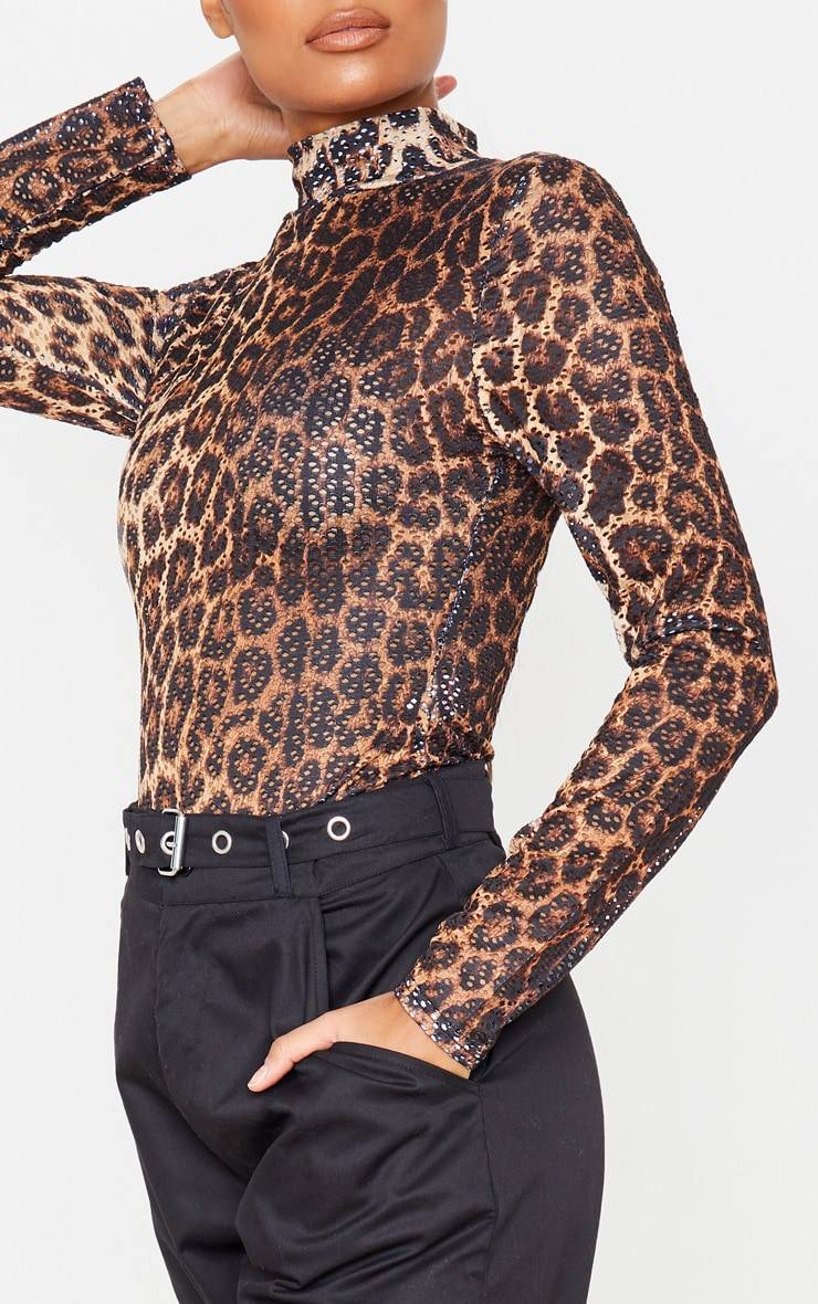 Tan Leopard Printed Fishnet Roll Neck Bodysuit 6