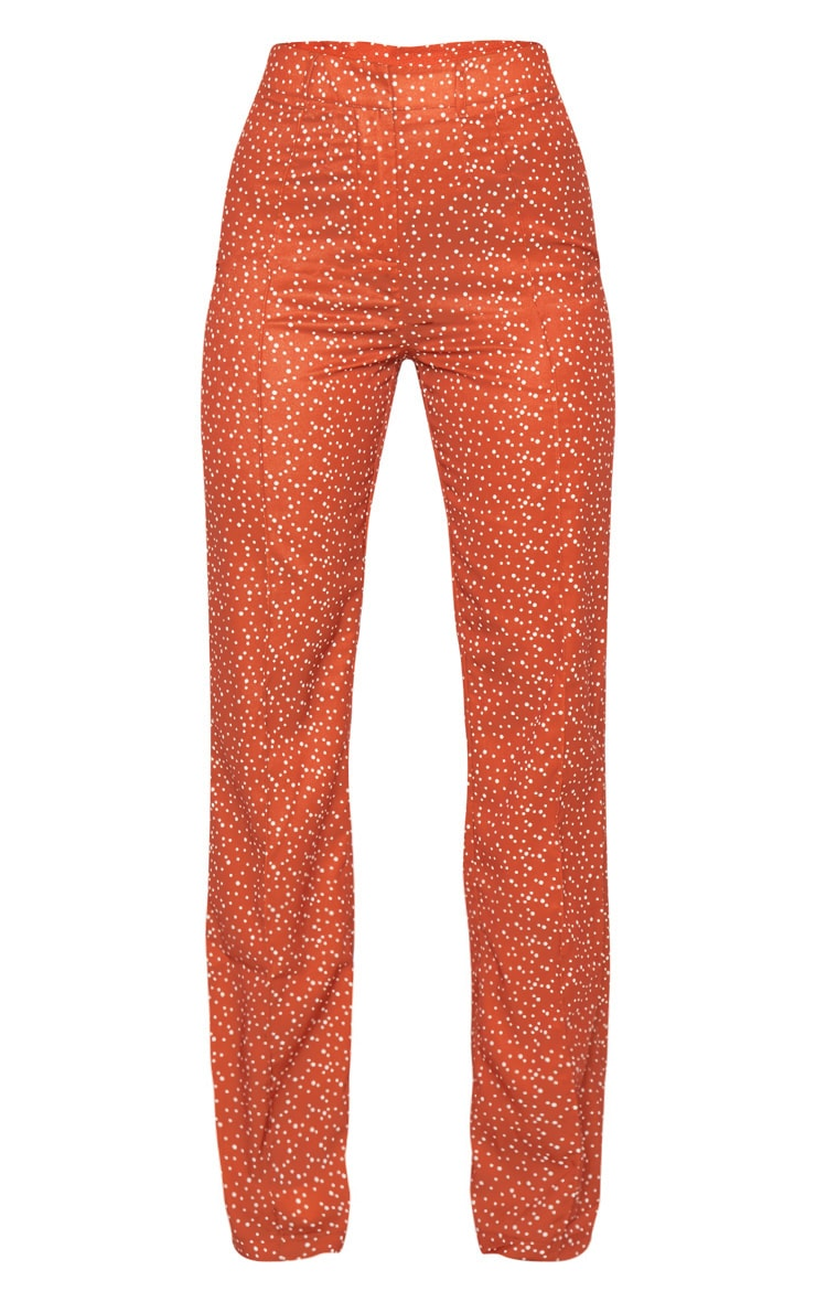 Rust Polka Dot High Waisted Straight Leg Pants 5