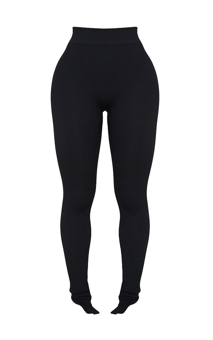 Shape Black Contour Ribbed Split Hem Leggings 5