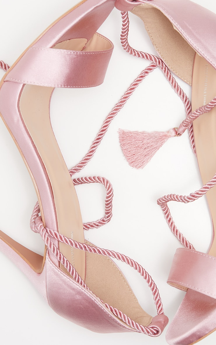 Blush Heeled Rope Tie Strappy Sandal 4