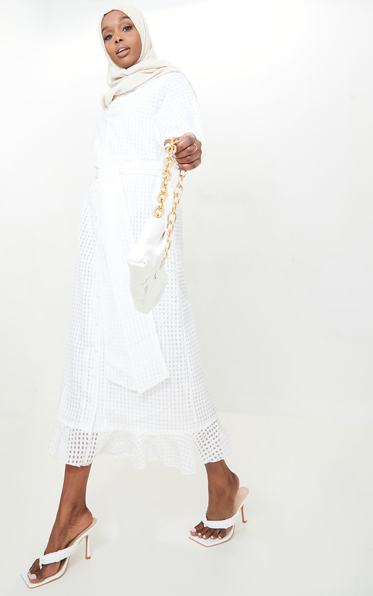 White Textured Organza Button Front Midi Dress 3