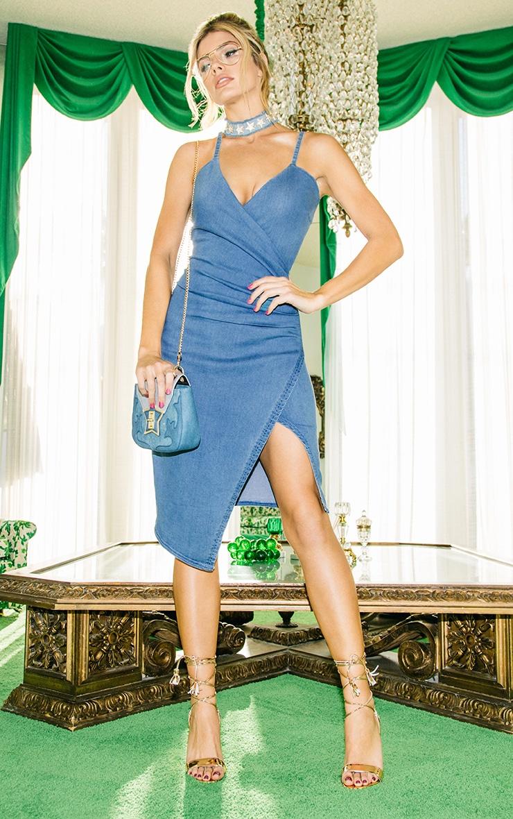 Amalia Blue Strappy Cami Denim Dress 2