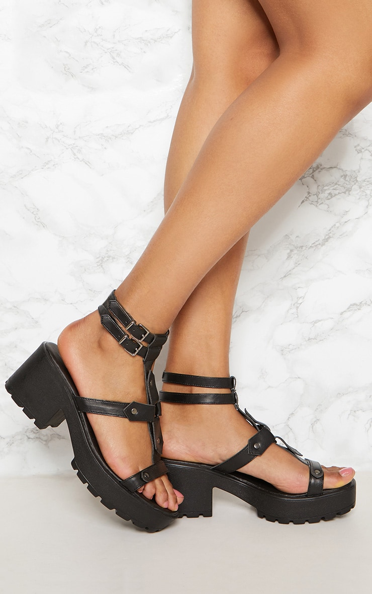 Black Ring Detail Gladiator Chunky Sandal 1