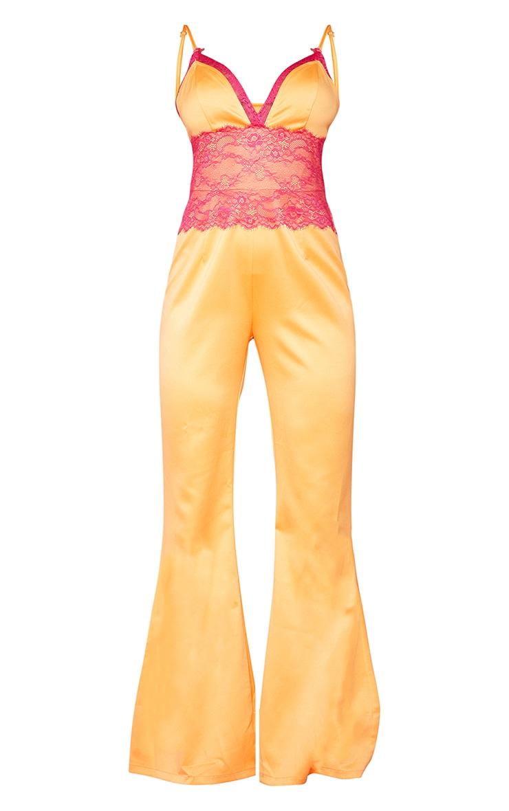 Bright Orange Contrast Lace Trim Satin Jumpsuit 5