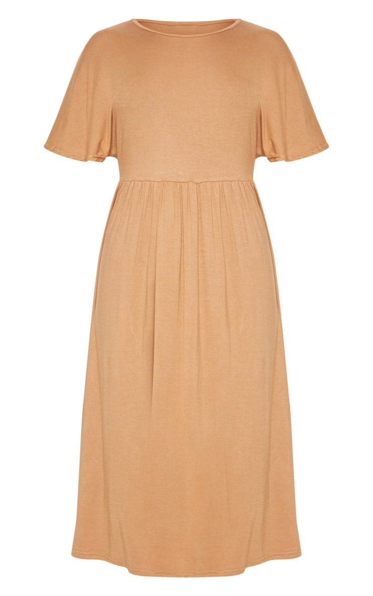 Camel Short Sleeve Midi Smock Dress 3