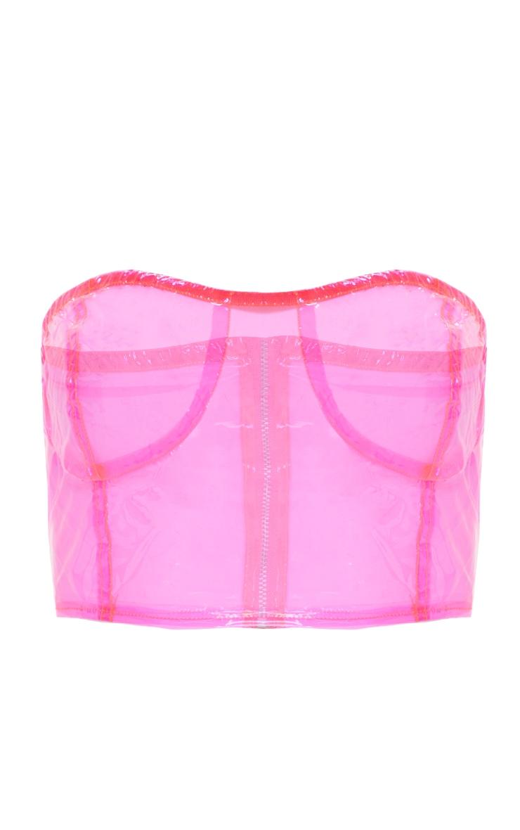 Hot Pink Transparent Zip Up Bandeau Bralet 4