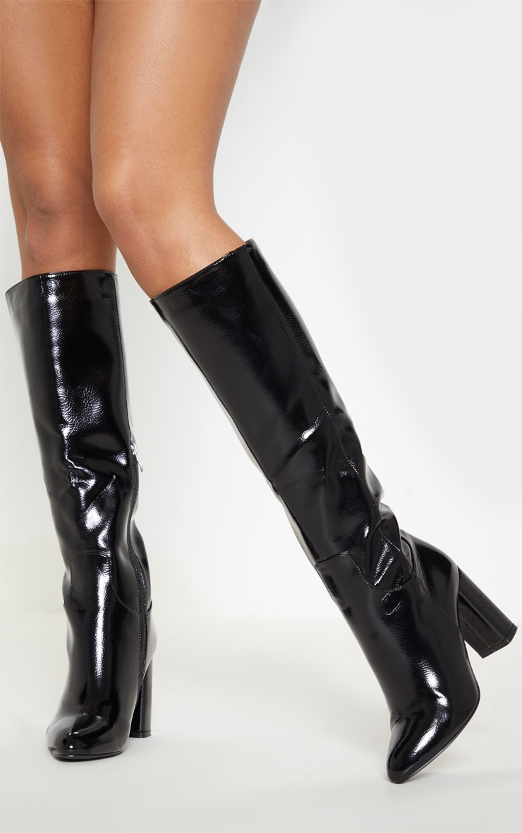 Black Block Heel Patent Calf Boot 1