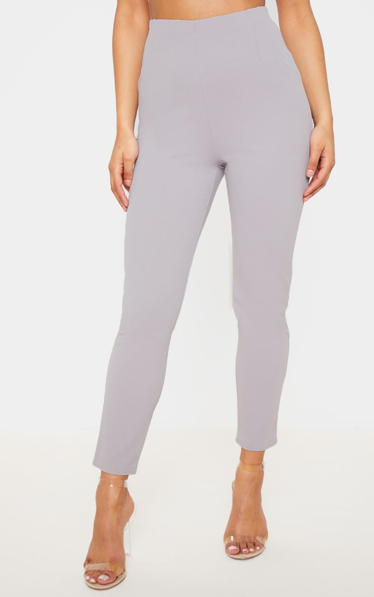 Grey High Waisted Pleated Front Detail Skinny Pants 2