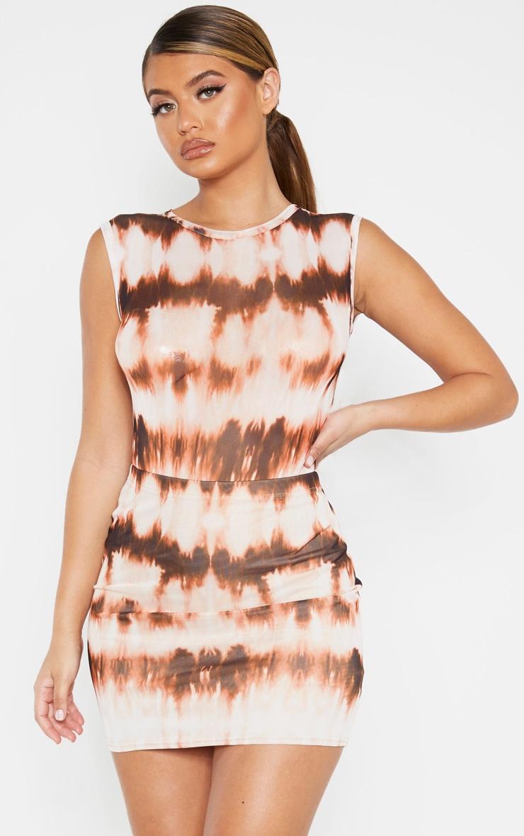 Brown Tie Dye Mesh Printed Mini Skirt 1